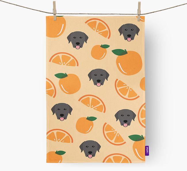 'Fruit Pattern' - Personalized Curly Coated Retriever Tea Towel