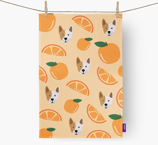 'Fruit Pattern' - Personalized Frenchie Staff Tea Towel