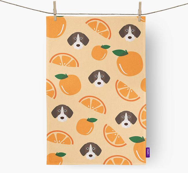 'Fruit Pattern' - Personalized German Wirehaired Pointer Tea Towel