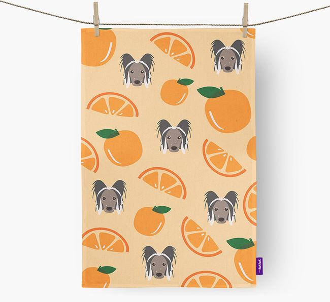 'Fruit Pattern' - Personalized Hairless Chinese Crested Tea Towel