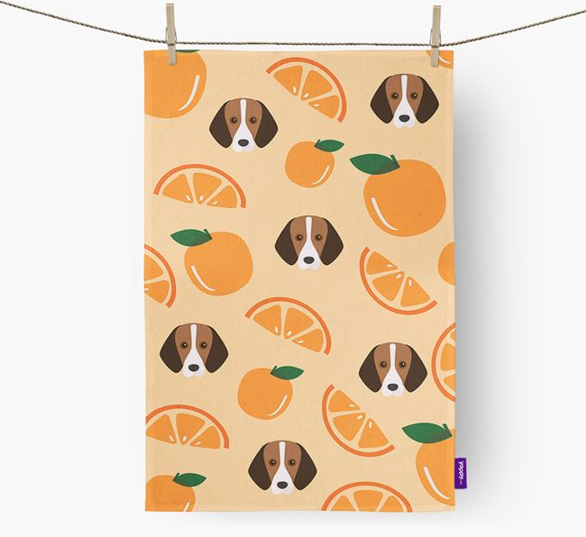 'Fruit Pattern' - Personalized Harrier Tea Towel