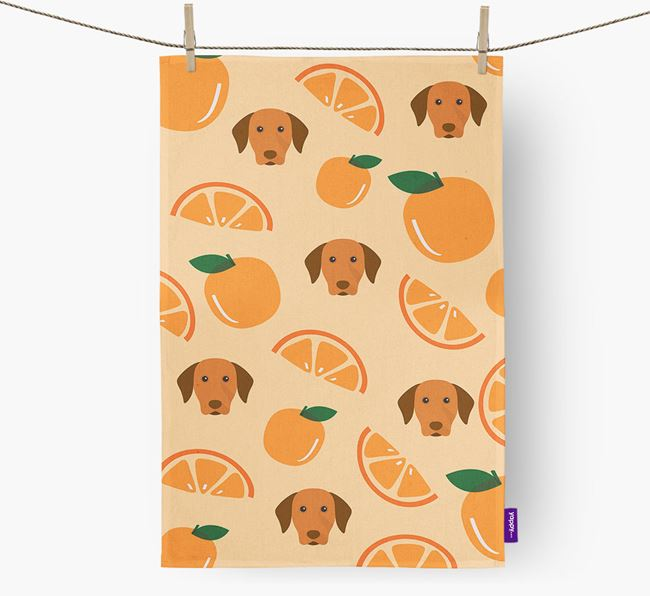 'Fruit Pattern' - Personalized Hungarian Vizsla Tea Towel