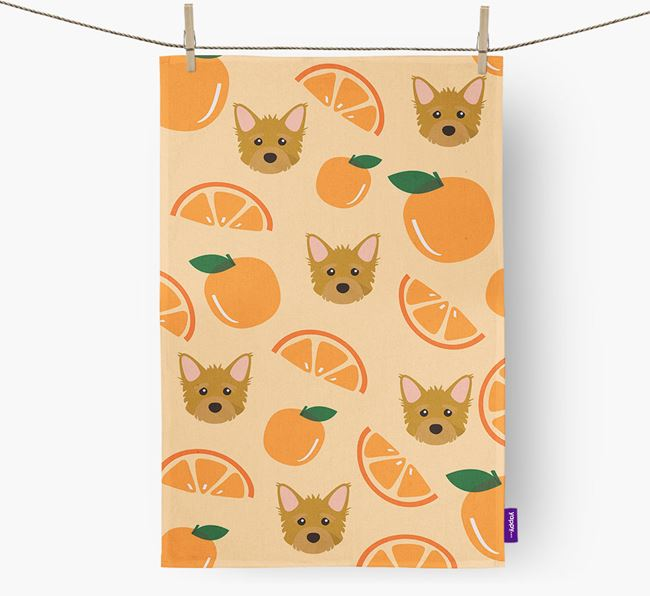 'Fruit Pattern' - Personalized Mixed Breed Tea Towel