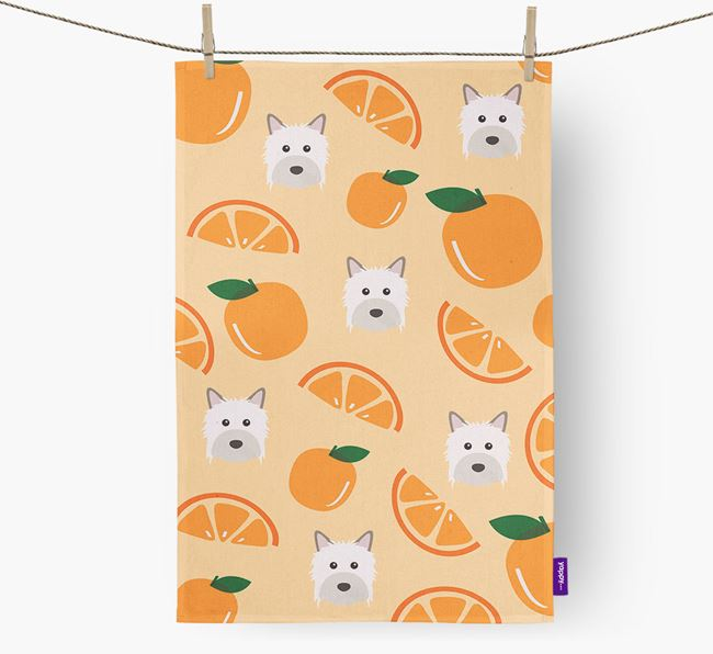 'Fruit Pattern' - Personalized Powderpuff Chinese Crested Tea Towel