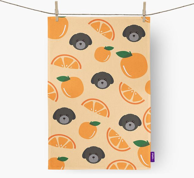 'Fruit Pattern' - Personalized Toy Poodle Tea Towel