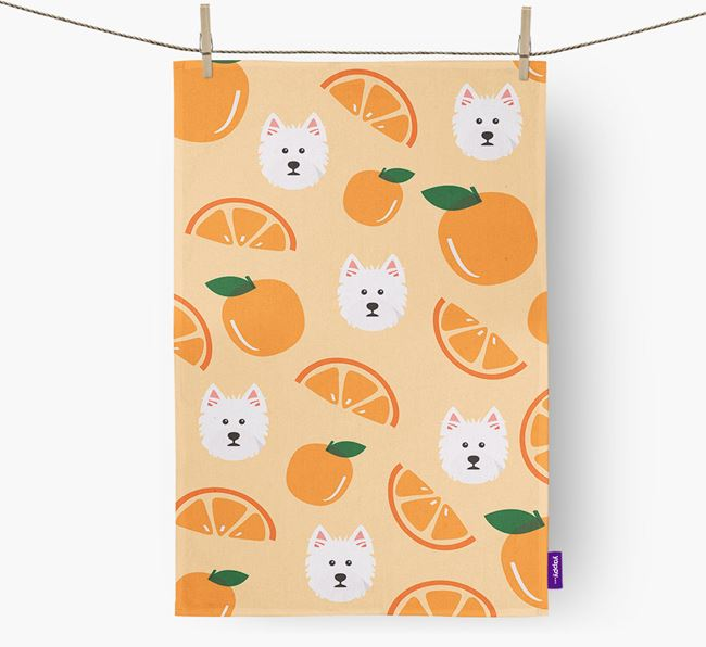 'Fruit Pattern' - Personalized West Highland White Terrier Tea Towel