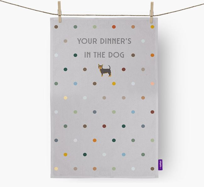 'Your Dinner's in The Dog' - Dish Towel with Chorkie Icon