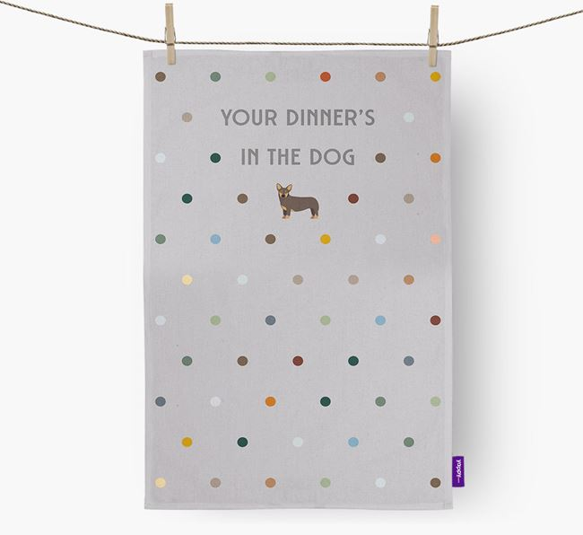 'Your Dinner's in The Dog' - Dish Towel with Lancashire Heeler Icon