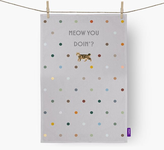 'Meow You Doin'?' - Dish towel with Cat Icon