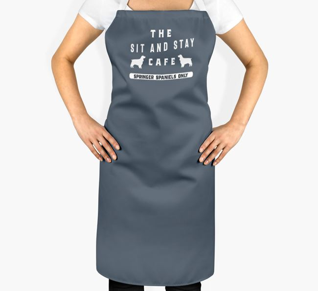 'The Sit And Stay Cafe' - Personalised Springer Spaniel Apron