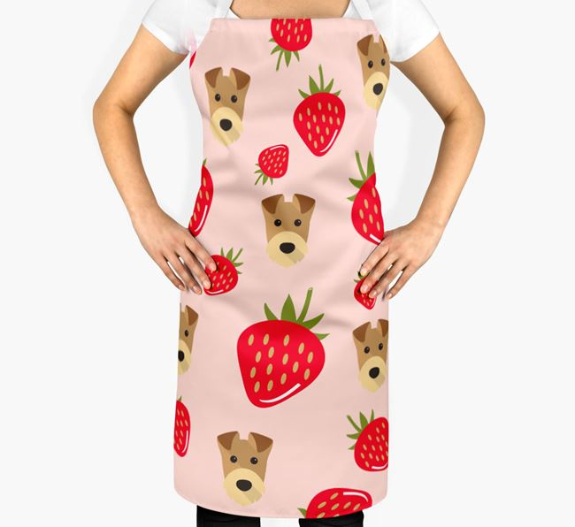 'Fruit Pattern' - Personalised Airedale Terrier Apron