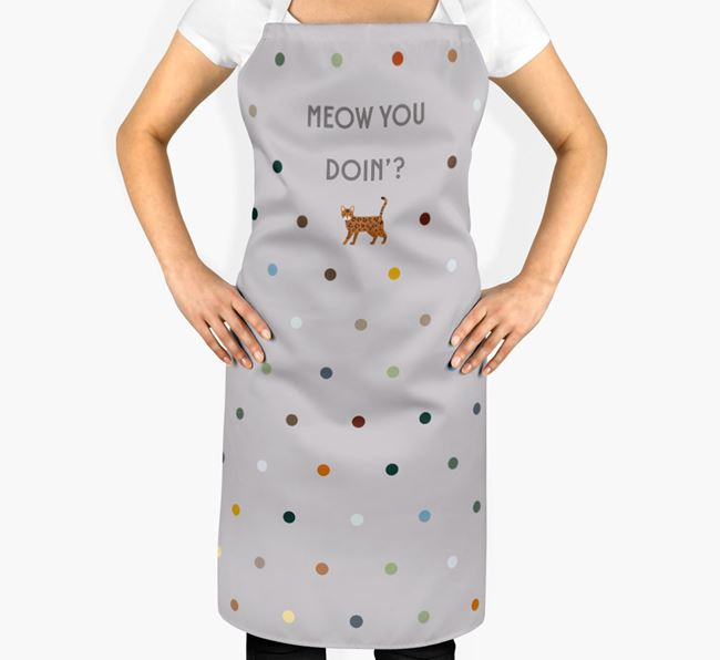 'Meow You Doin'?' -  Apron with Bengal Icon
