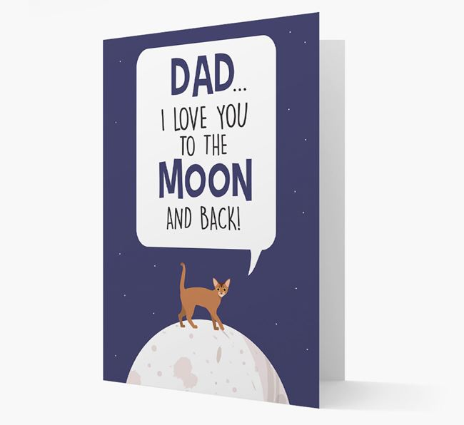 'Dad, I Love You to the Moon and Back' - Personalized Cat Card