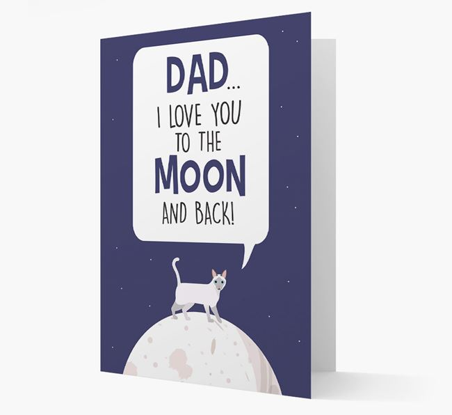 'Dad, I Love You to the Moon and Back' - Personalized Siamese Card
