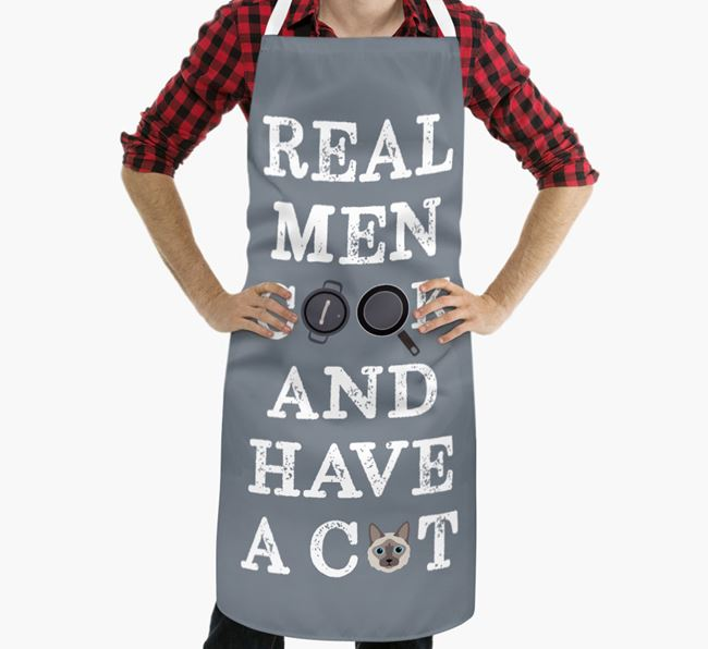 'Real Men Cook and Have a Cat' - Personalized Balinese Apron