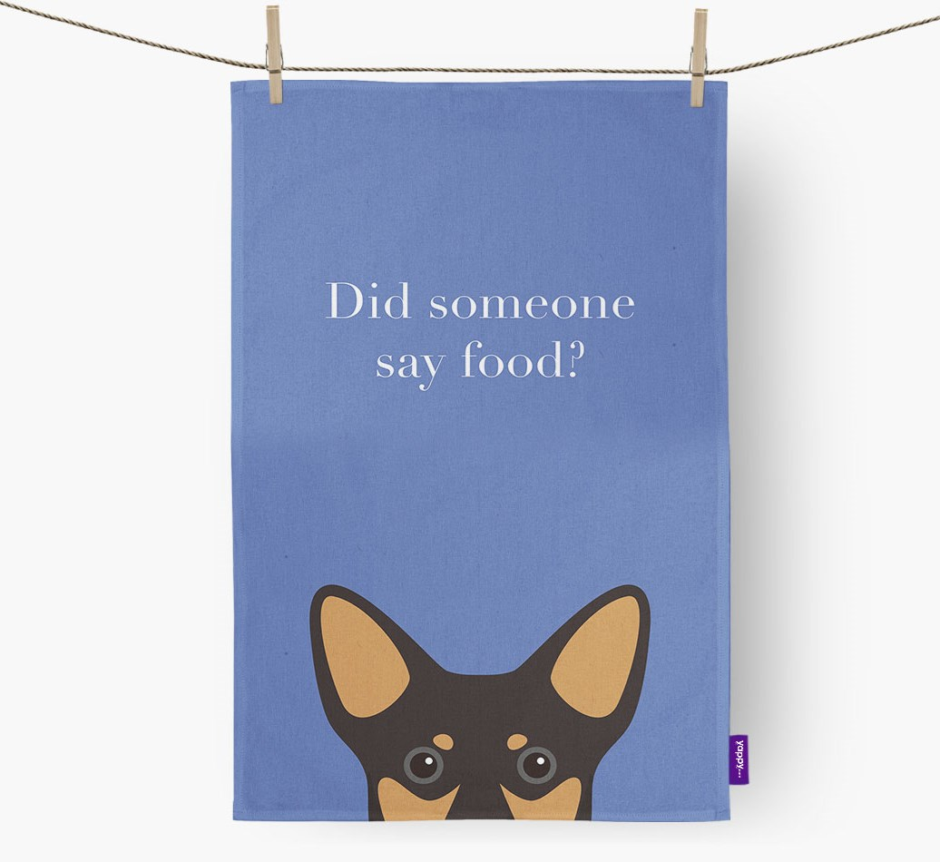 'Did someone say food?' Lancashire Heeler {colour} Tea Towel front view