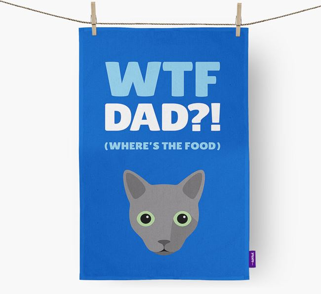 'Where's the Food Dad?!' - Personalised Cat Tea Towel