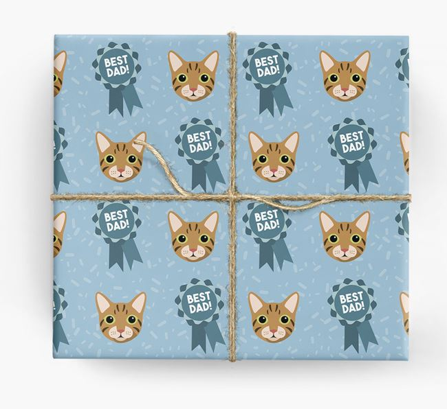 'Best Dad Ribbon' - Personalized Cat Wrapping Paper
