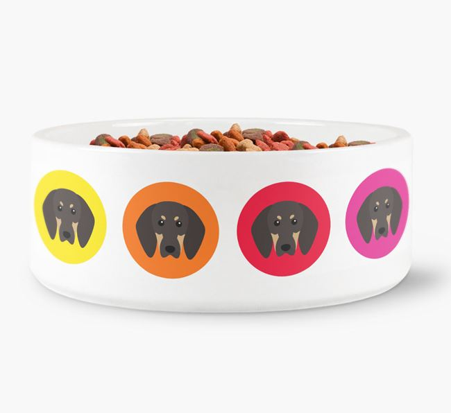 Black and Tan Coonhound Yappicon Dog Bowl