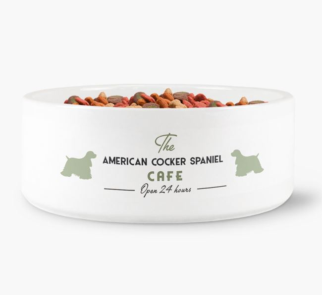'The American Cocker Spaniel Cafe' - Personalised Dog Bowl for your American Cocker Spaniel