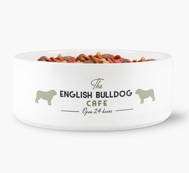 'The English Bulldog Cafe' - Personalised Dog Bowl for your English Bulldog