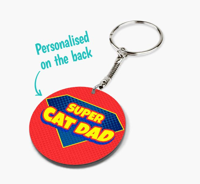 'Super Cat Dad' - Personalised Double-Sided Cat Keyring