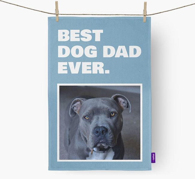 'Best Dog Dad Ever' - Personalized American Pit Bull Terrier DIsh Towel
