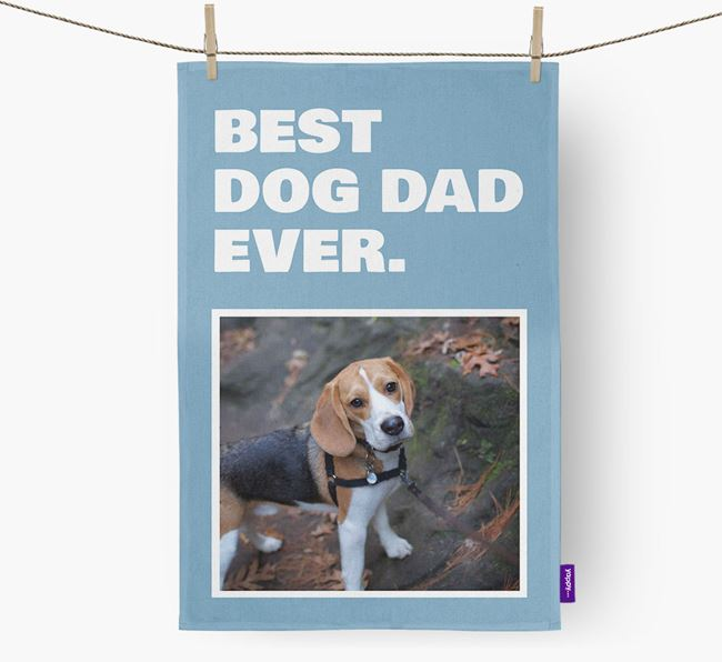 'Best Dog Dad Ever' - Personalized Beagle DIsh Towel