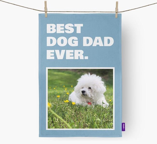'Best Dog Dad Ever' - Personalized Bichon Frise DIsh Towel