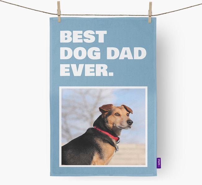 'Best Dog Dad Ever' - Personalized Blue Lacy DIsh Towel