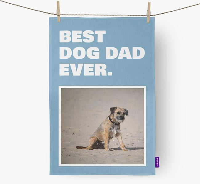 'Best Dog Dad Ever' - Personalized Border Terrier DIsh Towel