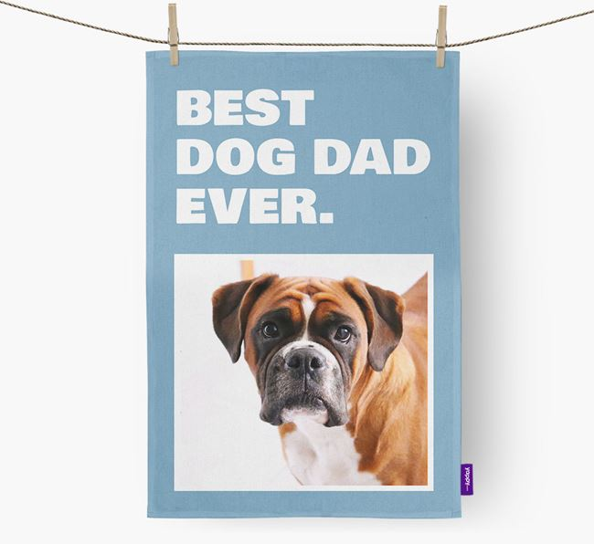 'Best Dog Dad Ever' - Personalized Boxer DIsh Towel