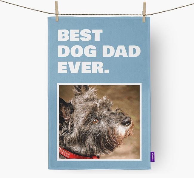 'Best Dog Dad Ever' - Personalized Cairn Terrier DIsh Towel