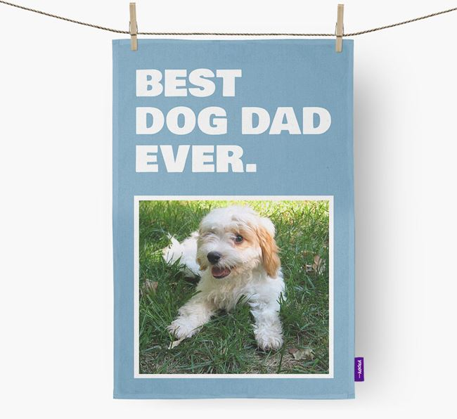 'Best Dog Dad Ever' - Personalized Cavachon DIsh Towel