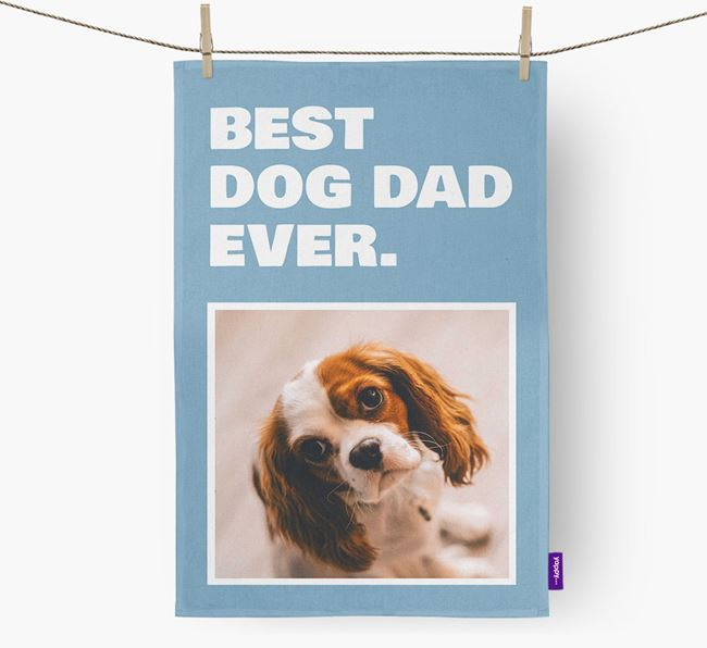 'Best Dog Dad Ever' - Personalized Cavalier King Charles Spaniel DIsh Towel
