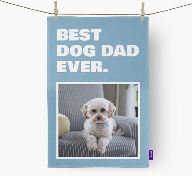 'Best Dog Dad Ever' - Personalized Cavapoo DIsh Towel