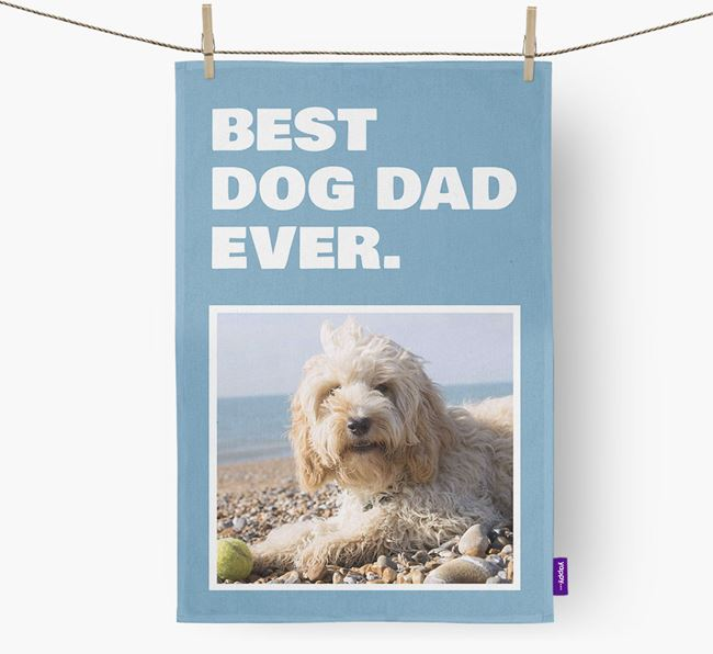 'Best Dog Dad Ever' - Personalized Cockapoo DIsh Towel