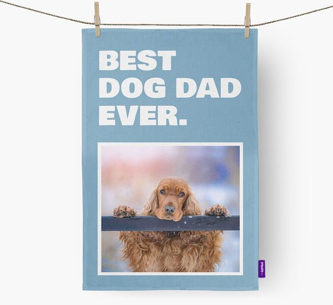 'Best Dog Dad Ever' - Personalized Cocker Spaniel DIsh Towel