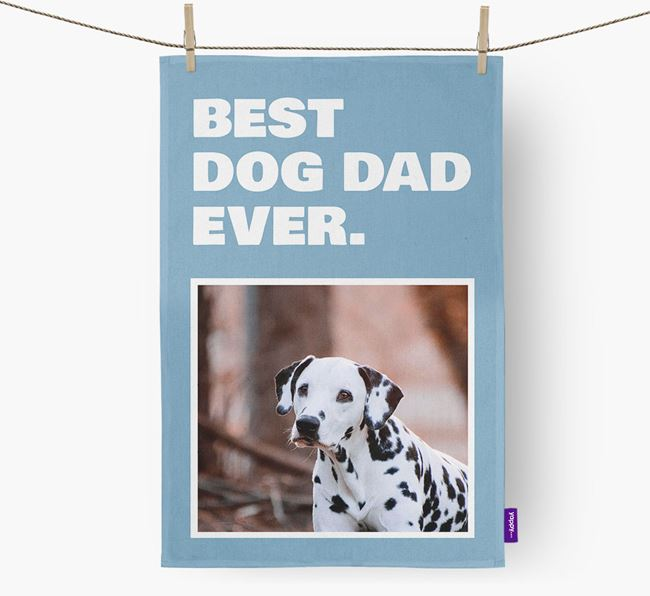 'Best Dog Dad Ever' - Personalized Dalmatian DIsh Towel