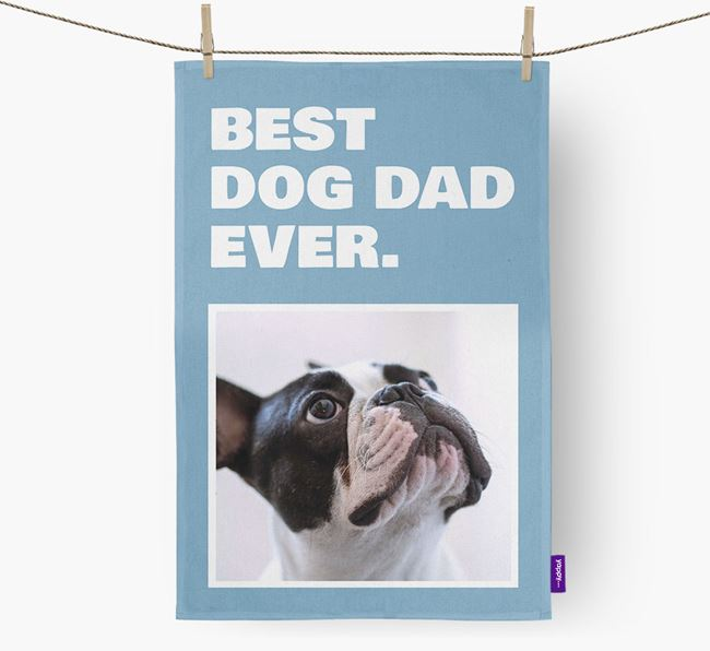 'Best Dog Dad Ever' - Personalized French Bulldog DIsh Towel