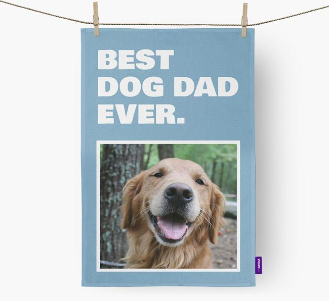 'Best Dog Dad Ever' - Personalized Golden Retriever DIsh Towel