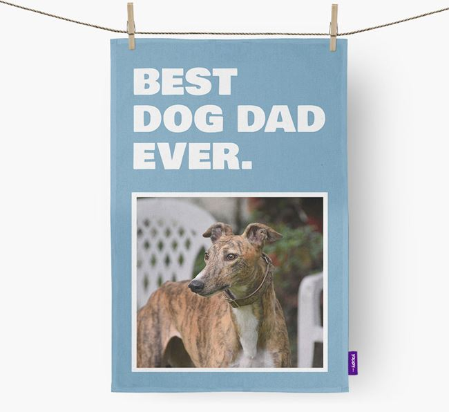 'Best Dog Dad Ever' - Personalized Greyhound DIsh Towel