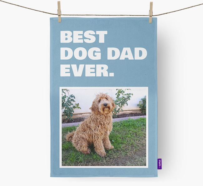 'Best Dog Dad Ever' - Personalized Labradoodle DIsh Towel