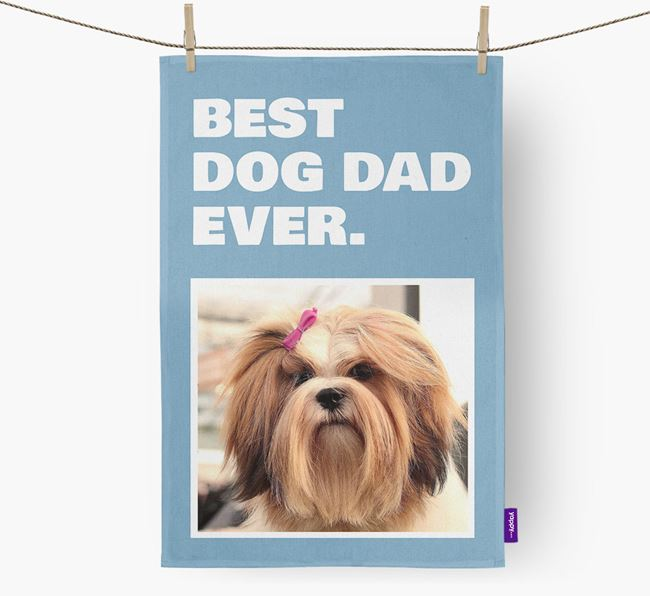 'Best Dog Dad Ever' - Personalized Lhasa Apso DIsh Towel