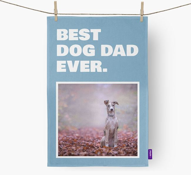 'Best Dog Dad Ever' - Personalized Lurcher DIsh Towel