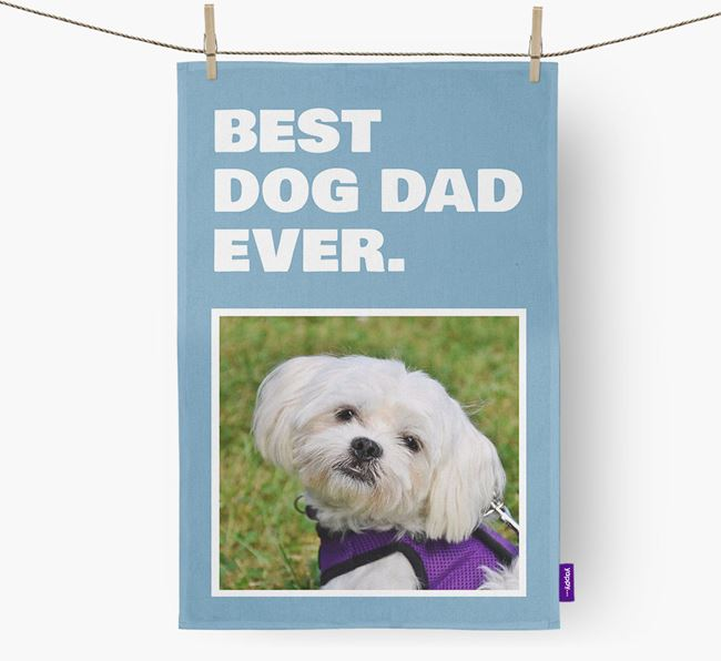 'Best Dog Dad Ever' - Personalized Maltese DIsh Towel