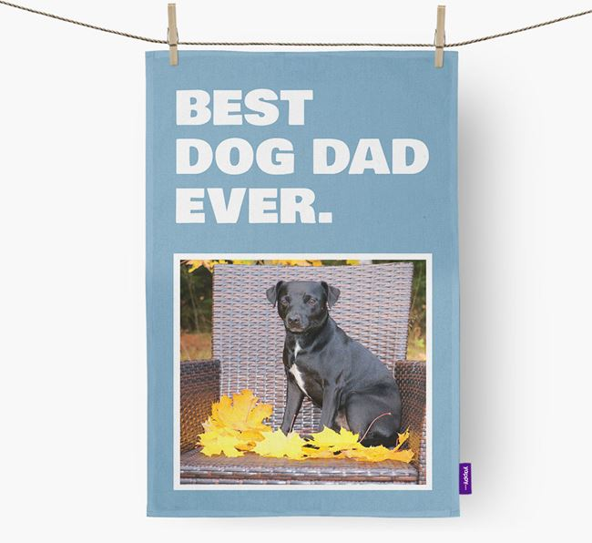 'Best Dog Dad Ever' - Personalized Patterdale Terrier DIsh Towel