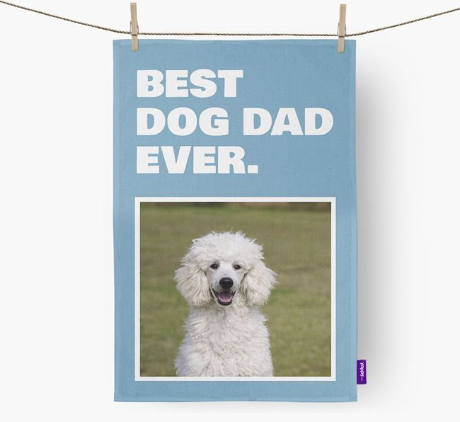 'Best Dog Dad Ever' - Personalized Poodle DIsh Towel