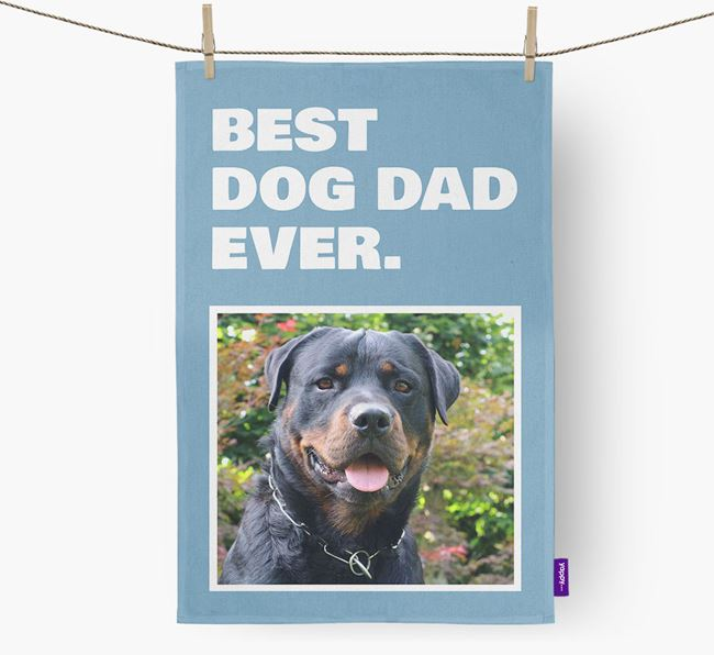 'Best Dog Dad Ever' - Personalized Rottweiler DIsh Towel