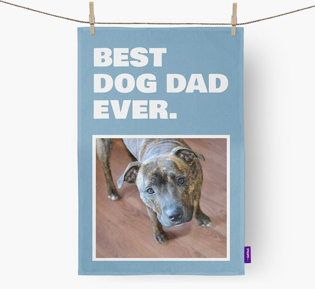 'Best Dog Dad Ever' - Personalized Dog DIsh Towel